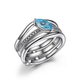 Elle Elle Moon Shadow Genuine Marquise Blue Topaz and CZ Wavy Ring