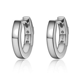 Elle Elle Sterling Silver Oval Hoop Earrings