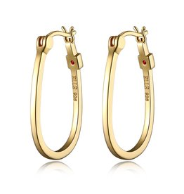Elle Elle Sterling Silver Gold Plated Oval Hoop Earrings