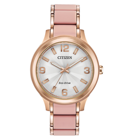 Citizen Citizen Eco Drive Ladies Rose and Blush Pink Silicone Watch