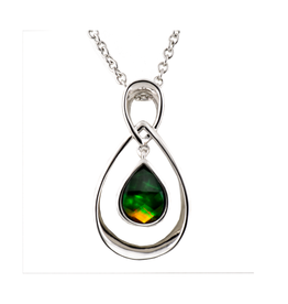 Korite Korite Ammolite Bronze Necklace Rhodium Plated
