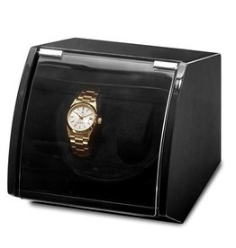 Luxury Black Finish Wood Dual Watch Winder