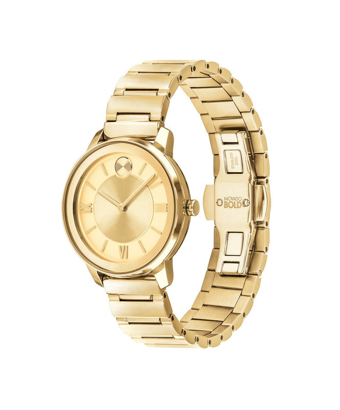 Movado Movado Bold with Gold Sunray Dot Gold Dial