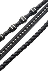 Inox Black Braided Leather Bracelet with Stainless Steel Clasp