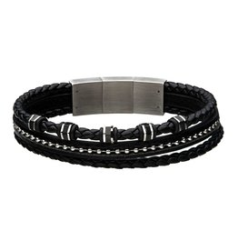 Inox Inox Black Braided Leather Bracelet with Stainless Steel Clasp