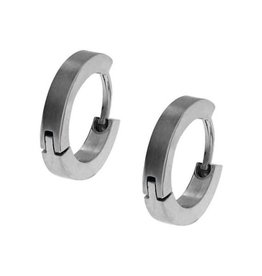 Inox Inox Stainless Steel Mens Huggie Hoop Earrings