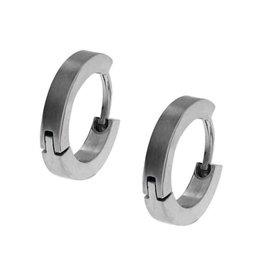 Inox Stainless Steel 2mm Matte Finish Huggie Earrings