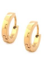 Inox Stainless Steel Mens Gold Tone Huggie Hoop Earrings