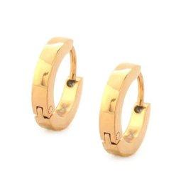 Inox Inox Stainless Steel Gold Tone Huggie Earrings