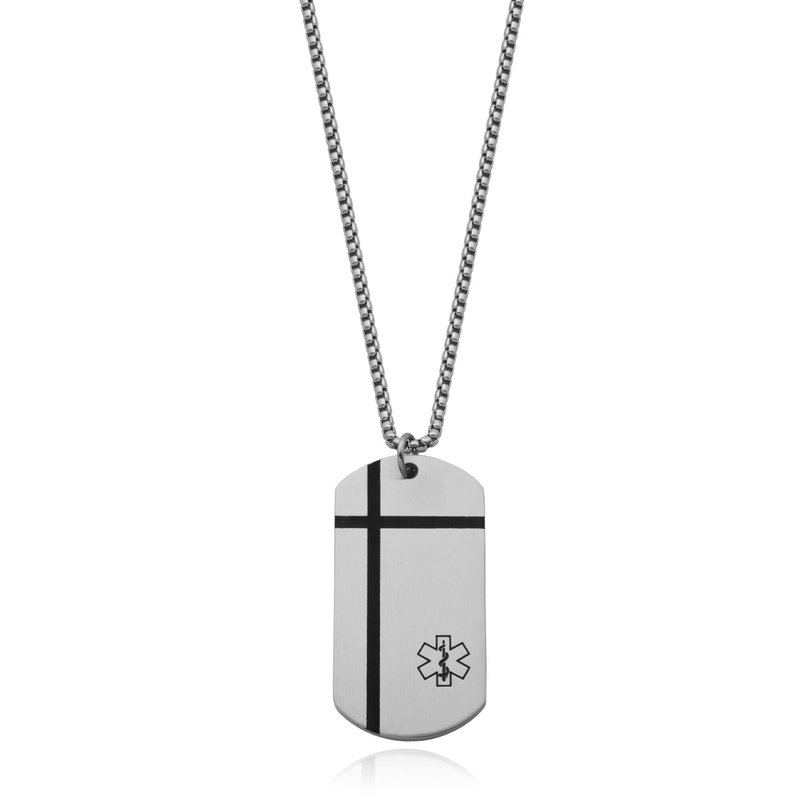 Steelx Stainless Steel Medical ID Dog Tag Necklace