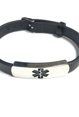 Steelx Steelx Stainless Steel Medical ID Leather Bracelet