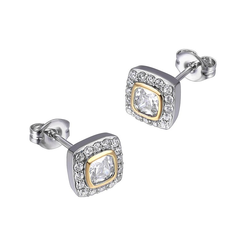 Reign Reign Sterling Silver Two Tone CZ Halo Earrings
