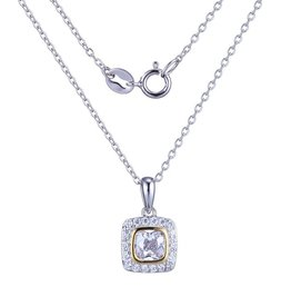 Reign Reign Sterling Silver Two Tone CZ Halo Necklace