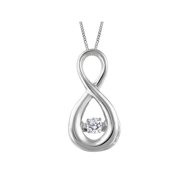 Fire and Ice 10K White Gold (0.05ct) Canadian Dancing Diamond Infinity Pendant