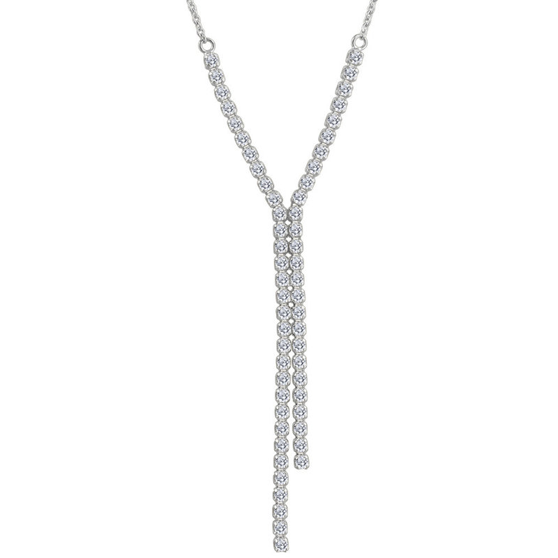 14K White Gold 0.75ct Diamond Feather Bright Necklace