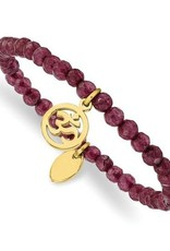 Stainless Steel Polished Yellow IP OHM Purple Jade Stretch Bracelet