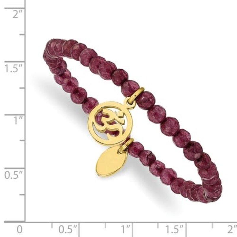 Stainless Steel Polished Yellow IP OHM Purple Jade Stretch Bracelet