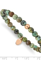 Stainless Steel Polished Rose IP-Plated African Turquoise Stretch Bracelet