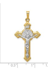 14k With Rhodium Polished St. Benedict Medal INRI Crucifix Pendant
