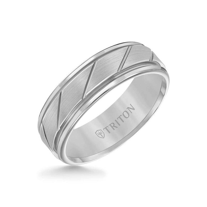 Triton Triton 7MM Tungsten Carbide Ring - (Black , Grey, White) Diagonal Cut Centre and Round Edge