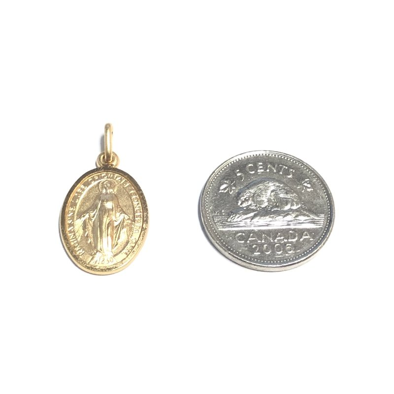 Yellow Gold Miraculous Medallion Oval (10K , 14K, 18K) Medium