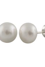 Sterling Silver Button Pearl Stud Earrings (8mm - 11mm)