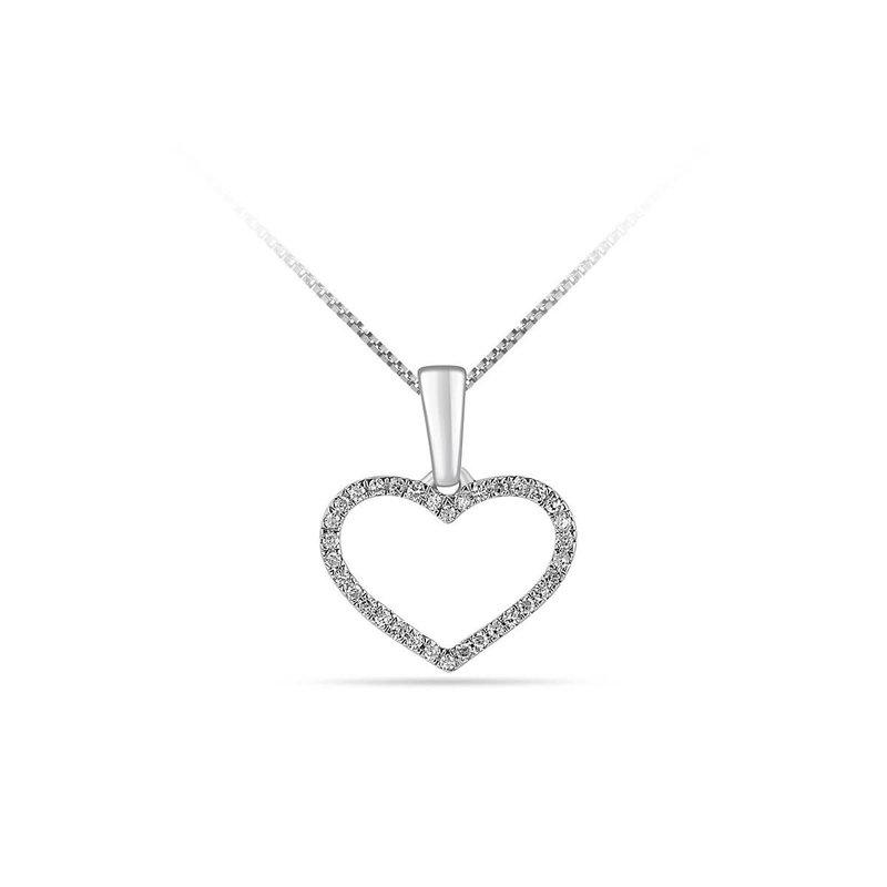 10K White Gold (0.05ct) Diamond Pavee Set Heart Pendant