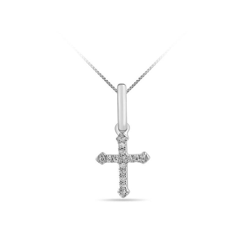 10K White Gold (0.03ct) Pavee Set Diamond Cross Pendant