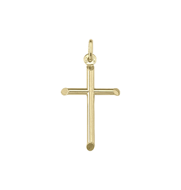 Yellow Gold Small Plain Tube Cross (10K, 14K, 18K) Pendant