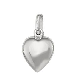 (10K, 14K, 18K) White Gold Medium Puffed Heart Pendant