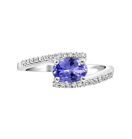 10K White Gold Tanzanite and Diamond Engagement Ring