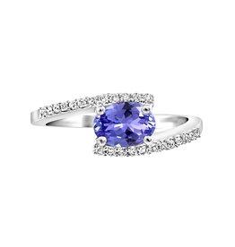 White Gold Tanzanite and Diamond Engagement Ring