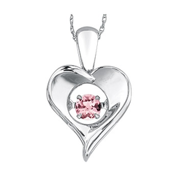Dancing June Birthstone Heart Pendant Sterling Silver Pink Topaz (Available in all months)