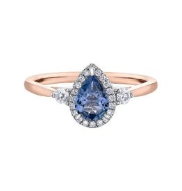 Maple Leaf Diamonds 14K Rose & White Gold Tanzanite and Canadian Diamond Ring