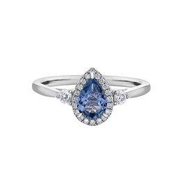 Maple Leaf Diamonds 14K White Gold Tanzanite and Canadian Diamond Ring