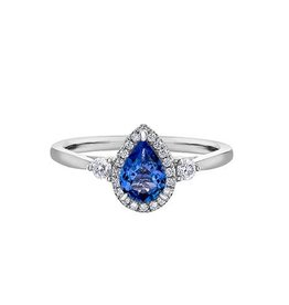 Maple Leaf Diamonds 14K White Gold Sapphire and Canadian Diamond Ring
