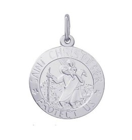 Nuco Silver Rhodium Plated St. Christopher Charm Pendant