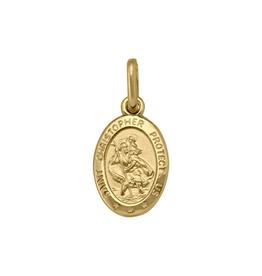 (10K ,14K, 18K) Yellow Gold (Small) St. Christopher Medallion Pendant