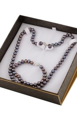 Silver Earrings, Necklace, Bracelet Freshwater Black Pearl Boxed Gift Set