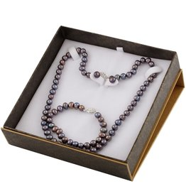 Silver Earrings, Necklace, Bracelet Freshwater Black Pearl Boxed Gift Set