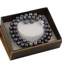 Silver Earrings and Necklace Black Freshwater Pearl Boxed Gift Set