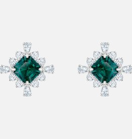 Swarovski Swarovski Palace Stud Earrings, Green, Rhodium Plated