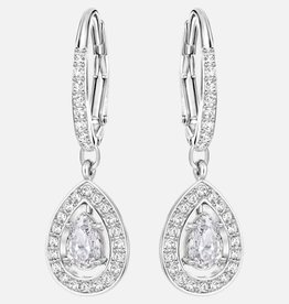 Swarovski Swarovski Attract Pear-Shaped Dangle Earrings, White, Rhodium Plated