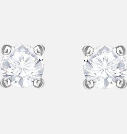 Swarovski Swarovski Attract Round Pierced Earrings, White, Rhodium Plated