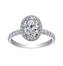 Maple Leaf Diamonds 18K Palladium White Gold Maple Leaf (0.65ct) Oval Canadian Diamond Halo Engagement Ring