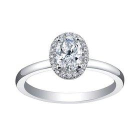 Maple Leaf Diamonds 18K Palladium White Gold Maple Leaf (0.45ct) Canadian Diamond Oval Halo Engagement Ring