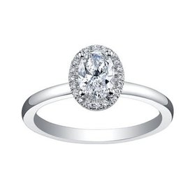 Maple Leaf Diamonds Oval Halo Canadian Diamond (0.45ct) 18K White Gold Ring