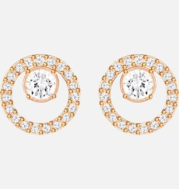 Swarovski Swarovski Creativity Circle Stud Earrings, White, Rose Gold Tone Plated
