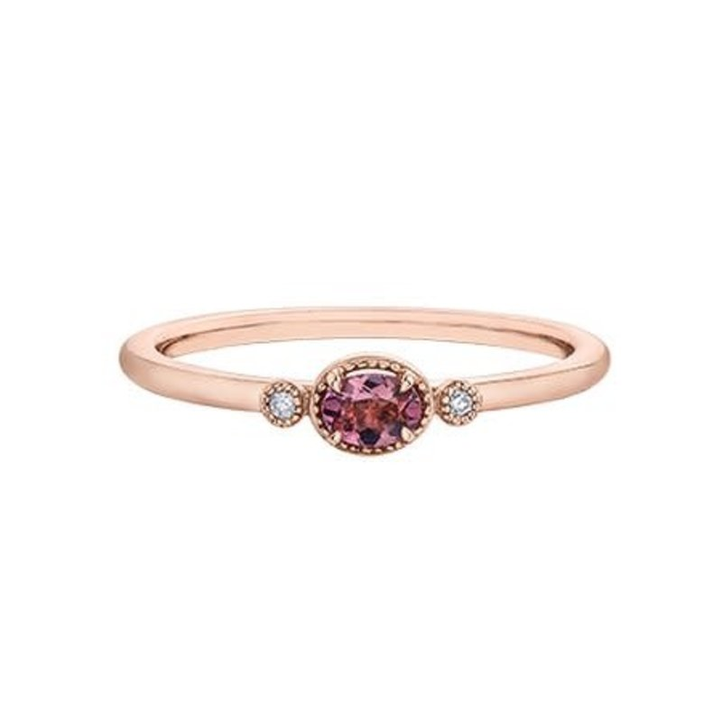 10K Rose Gold (0.015ct) Diamonds and Pink Tourmaline Stackable Band