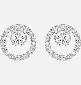 Swarovski Swarovski Creativity Circle Earrings, White, Rhodium Plated